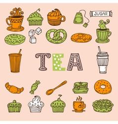 Hand drawn tea and desserts Tea time vector image