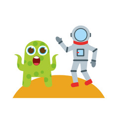 Astronaut with alien comic character icon vector