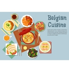 Belgian cuisine popular national dishes vector