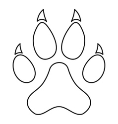 Paw print icon outline style vector image vector image