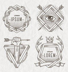 Tattoo style line art emblem vector image vector image