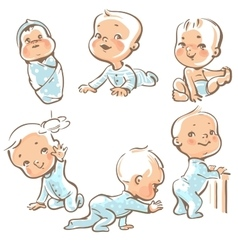 Cute babies in blue clothes vector image