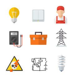 electrician industry icon cartoon set vector image vector image