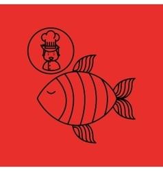 cartoon chef gourmet fresh fish vector image