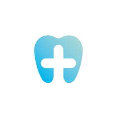 health gradient logo template blue tooth and cross vector image
