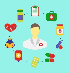 set flat medical icons for web design - vector image vector image