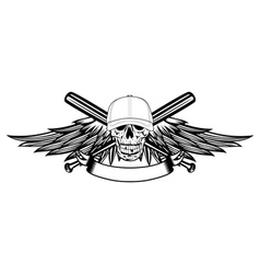 skull in baseball cap and wings vector image