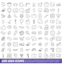 100 java icons set outline style vector