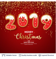 2019 number of gingerbread cookies on red banner vector