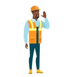 African-american builder calling for help vector