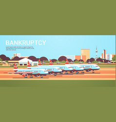 airport with parked airplanes coronavirus pandemic vector image