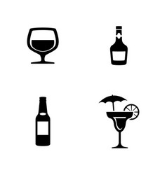 Alcohol simple related icons vector
