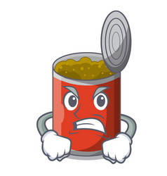Angry canned food on the table cartoon vector