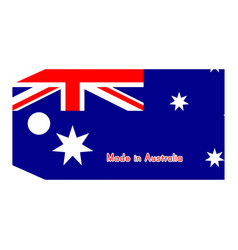 Australia flag on price tag with word made in vector