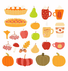 Autumn set with pies pumpkins mugs vector