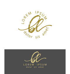 B l initials monogram logo design dry brush vector