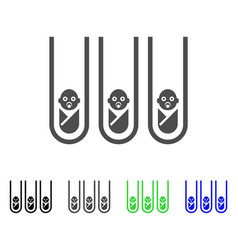 Baby cloning test-tubes flat icon vector