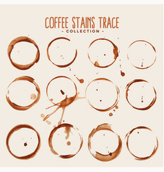 big set coffee stain trace texture vector image