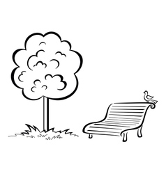 Bird on park bench and tree contour vector image