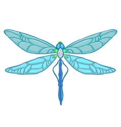 Blue Dragonfly on white background vector