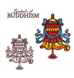 Buddhism religion victory banner vector