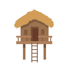Bungalow with ladder closeup vector