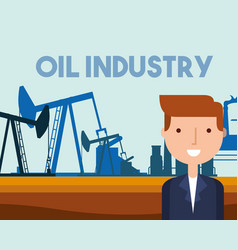 businessman pump jack working refinery plant oil vector image