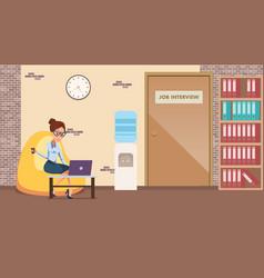 businesswoman work laptop in comfortable office vector image