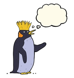 Cartoon emperor penguin waving with thought bubble vector