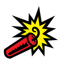 Cartoon stick of explosive dynamite tnt with lit vector