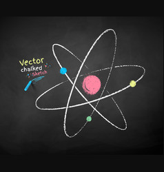 chalk drawn atom vector image