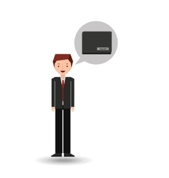 Character businessman with wallet money vector