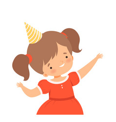 Cheerful little girl wearing birthday hat waving vector