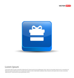 christmas gift box icon - 3d blue button vector image