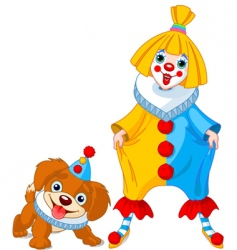 clown girl and clown dog vector image