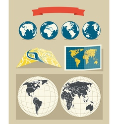 Collection retro style world and city maps vector
