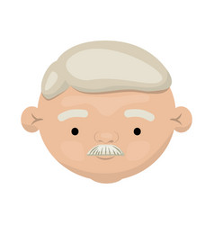 colorful face of elderly man with moustache and vector image