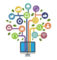 Computer with social media icons vector