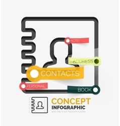 Contacts book infographics line style vector image