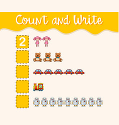 Count and write with different toys vector