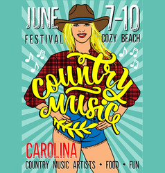country music festival poster with sexy country vector image