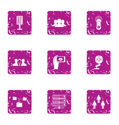 Data interaction icons set grunge style vector