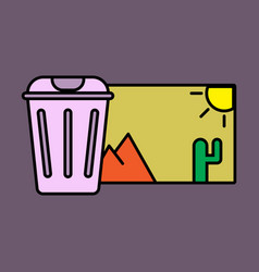 Delete image flat icon on color background vector
