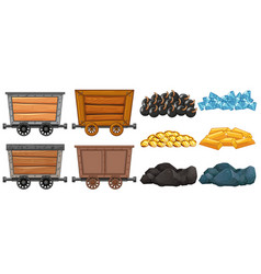 Different stone and mining carts vector