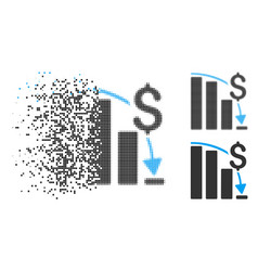 Disappearing pixelated halftone financial crisis vector