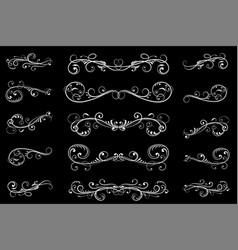 Dividers black filigree floral decorations vector
