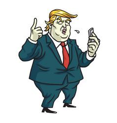 Donald trump comments on social media cartoon vector