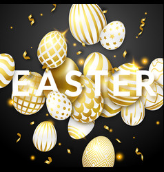 Easter black background with realistic golden vector