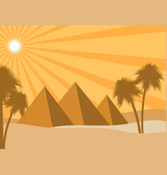 Egyptian pyramids in the desert sun rays and vector