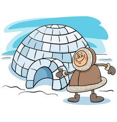 Eskimo with igloo cartoon vector
